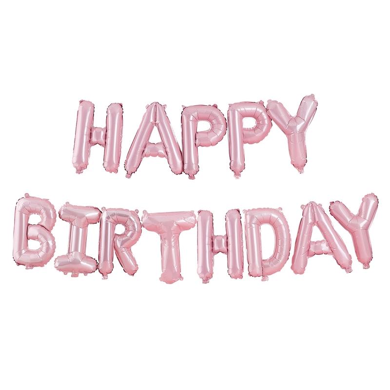 Luftballon-Girlande Happy Birthday rosa