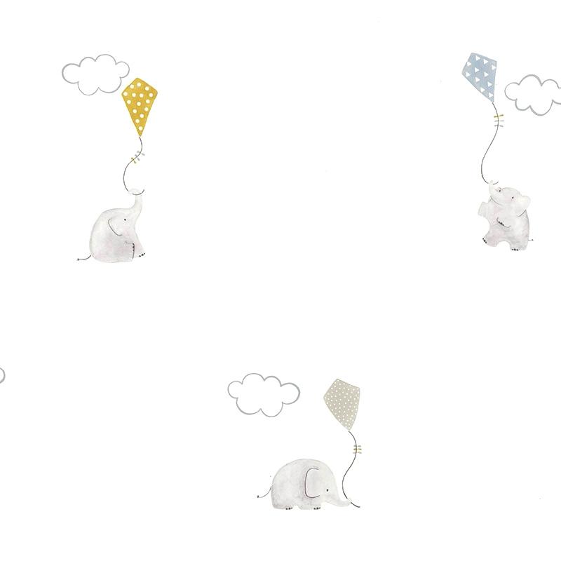 Tapete 'My Little World' Elefanten' blau/senf