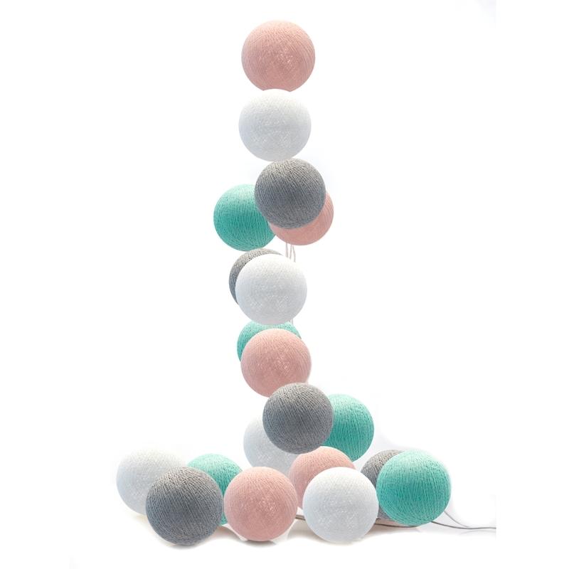 Lichterkette Cotton Balls LED rosa/mint