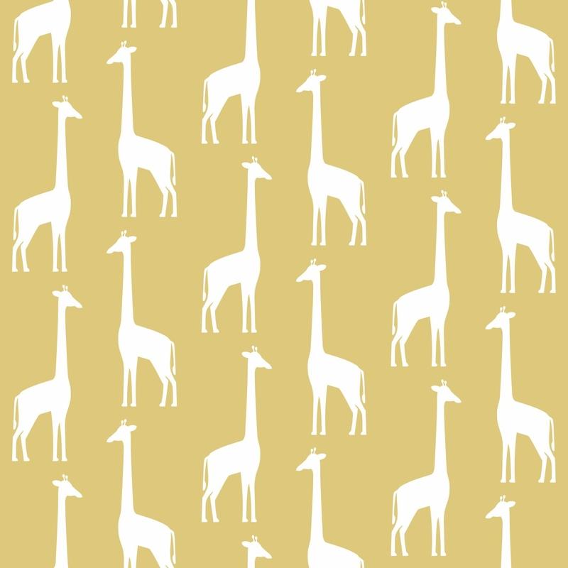 Vliestapete 'Giraffen' senfgelb/weiß