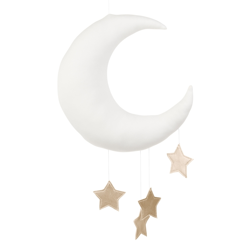 Mobile 'Mond & Sterne' weiß/gold handmade
