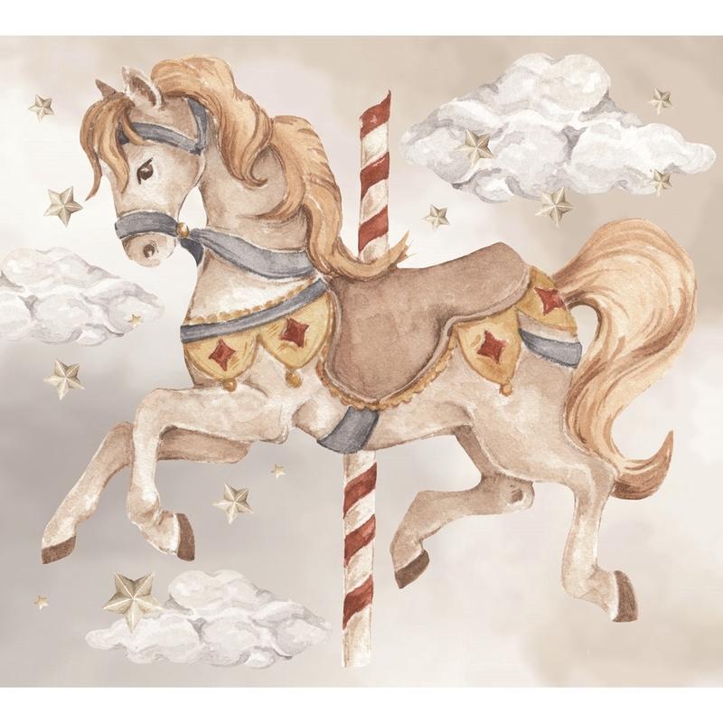 Wandsticker 'Karussellpferd' beige