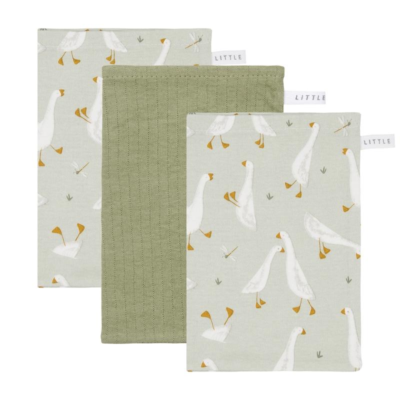 Waschlappen 'Gans' Jersey oliv 3er Set