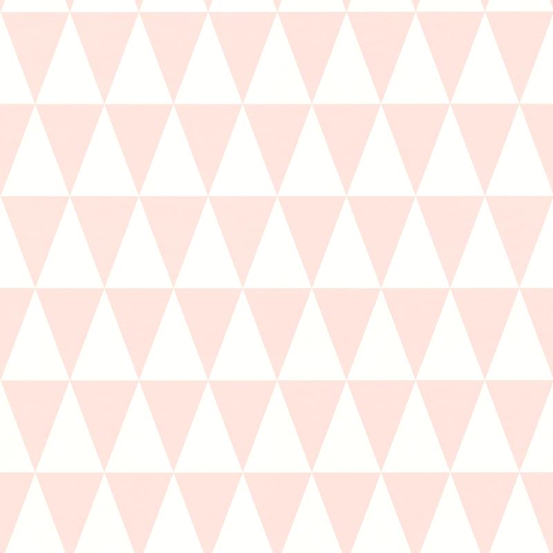 Vliestapete 'Dreiecke' rosa/weiß