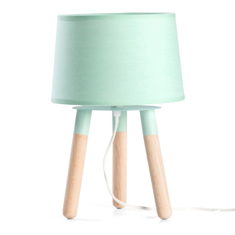 Tischlampe Scandi-Look mint/natur ca. 32cm