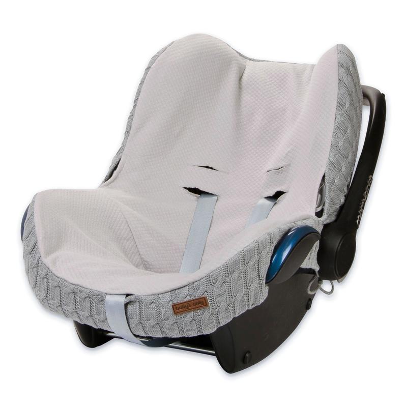 Babyschalen-Strickbezug für Maxi Cosi 'Zopf uni' grau