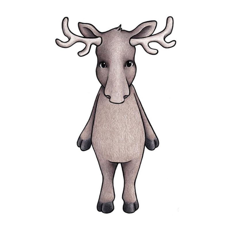 Tier-Wandsticker 'Elch' handgezeichnet