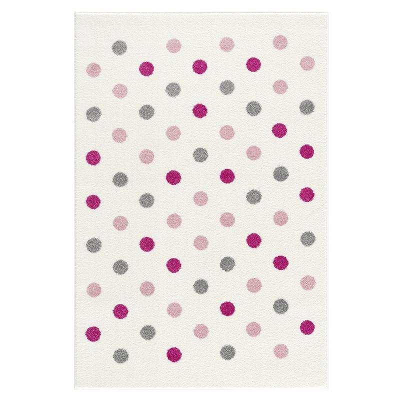 Velour-Kinderteppich 'Confetti' creme/rosa/grau