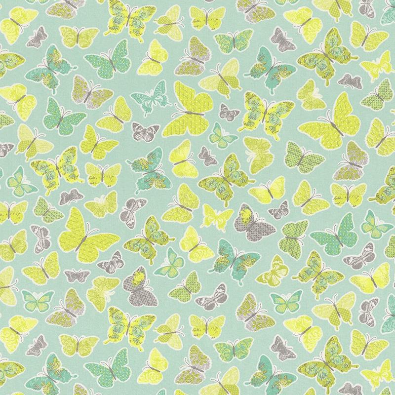 Stoff 'Schmetterlinge' mint 'Pretty Lili'