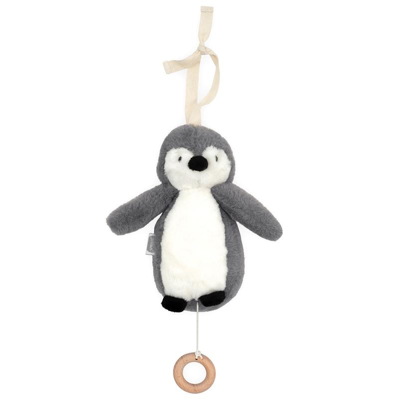 Spieluhr 'Pinguin' Plüsch grau ca. 20cm