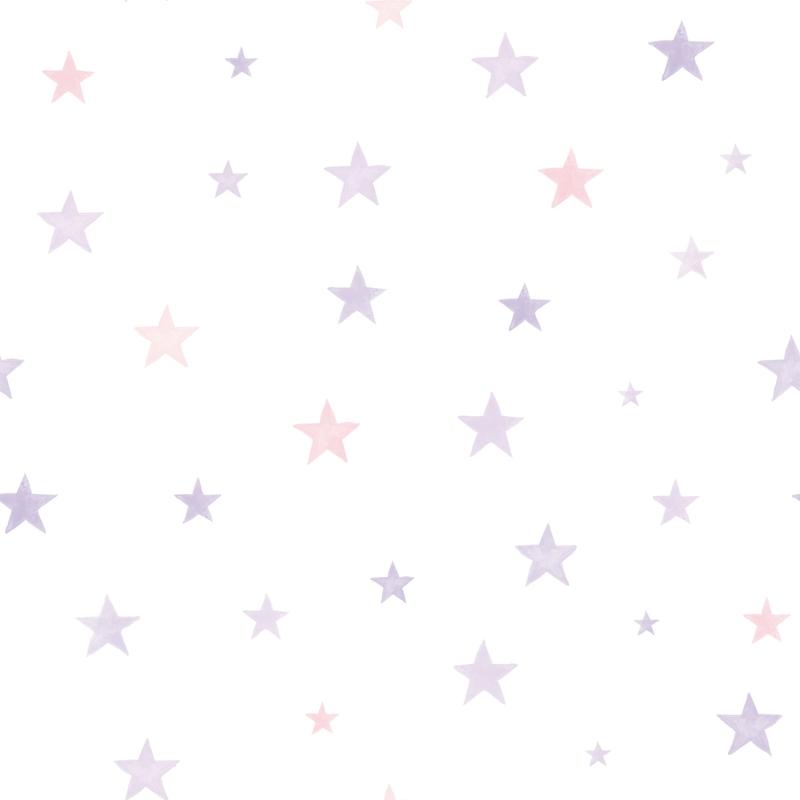 Vliestapete 'Sterne' lila/rosa