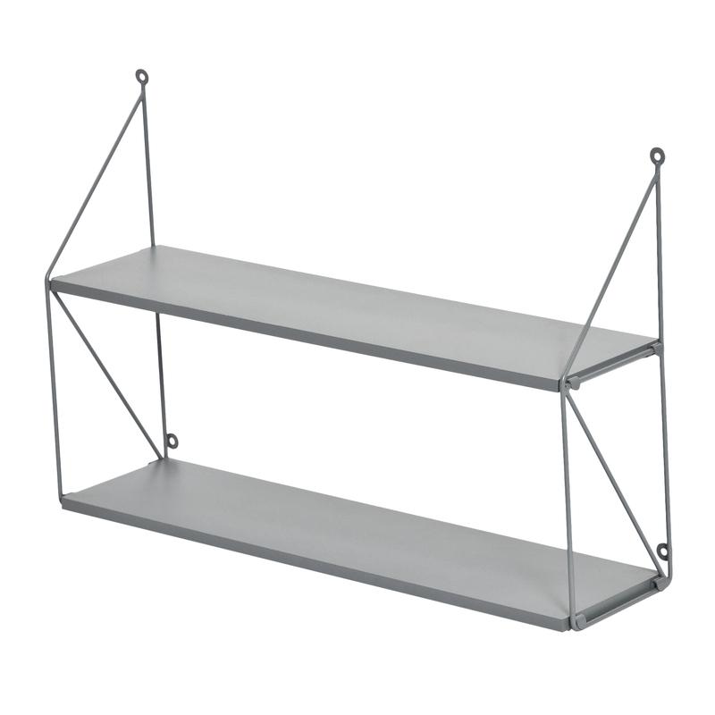 Wandregal mit 2 Böden Metall grau 61cm