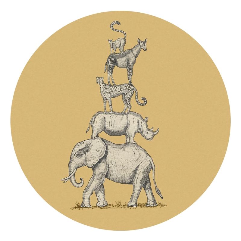 XL-Wandsticker 'Safari Tiere' rund ocker