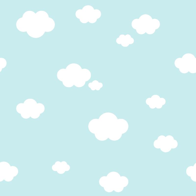 Kindertapete 'Wolken' hellblau/weiß