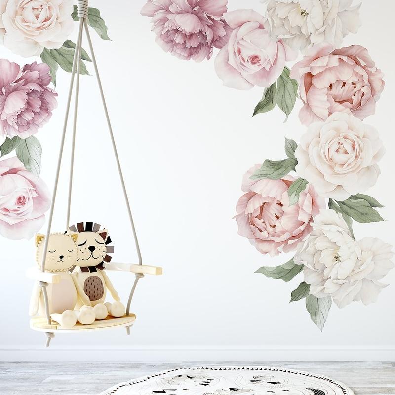 XL-Wandsticker aus Stoff 'Pfingstrosen' rosa