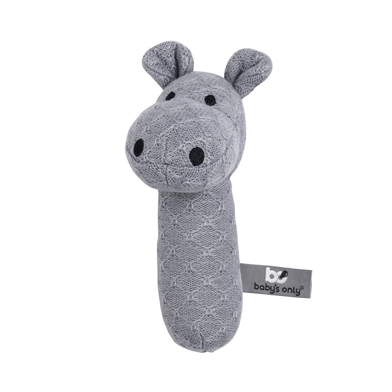 Babyrassel 'Hippo' Feinstrick grau 15cm