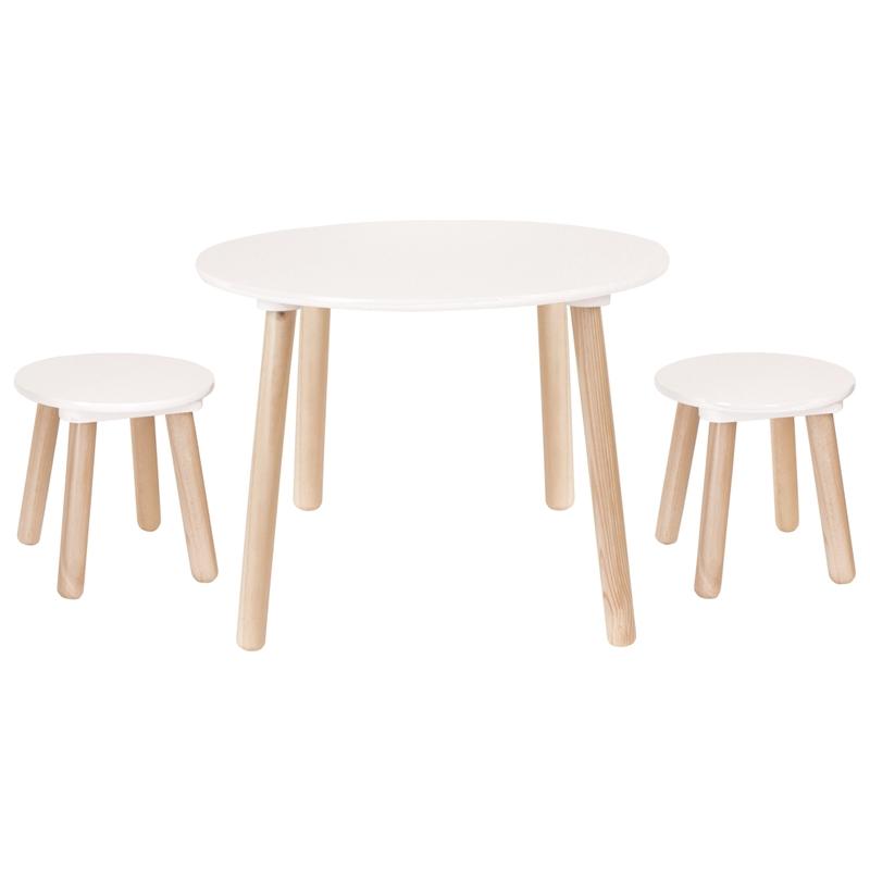 Kindertisch & 2 Hocker Naturholz/weiß