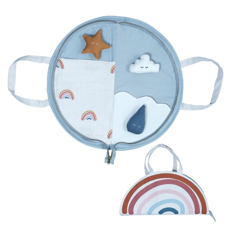 Spieltasche 'Regenbogen' hellblau 42cm