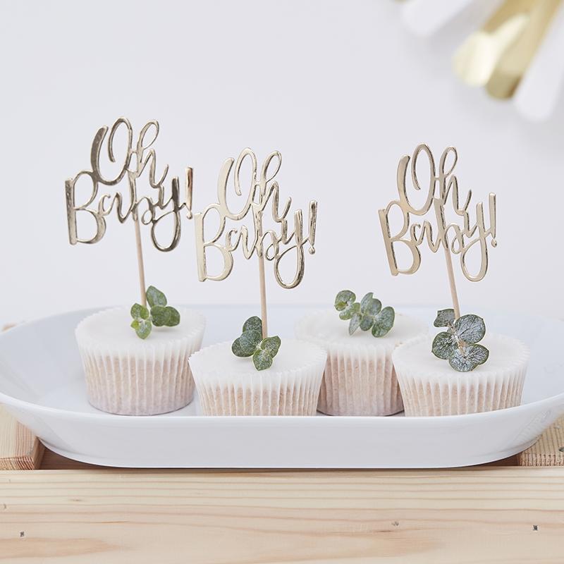 Cupcake-Topper 'Oh Baby' gold 12er Set