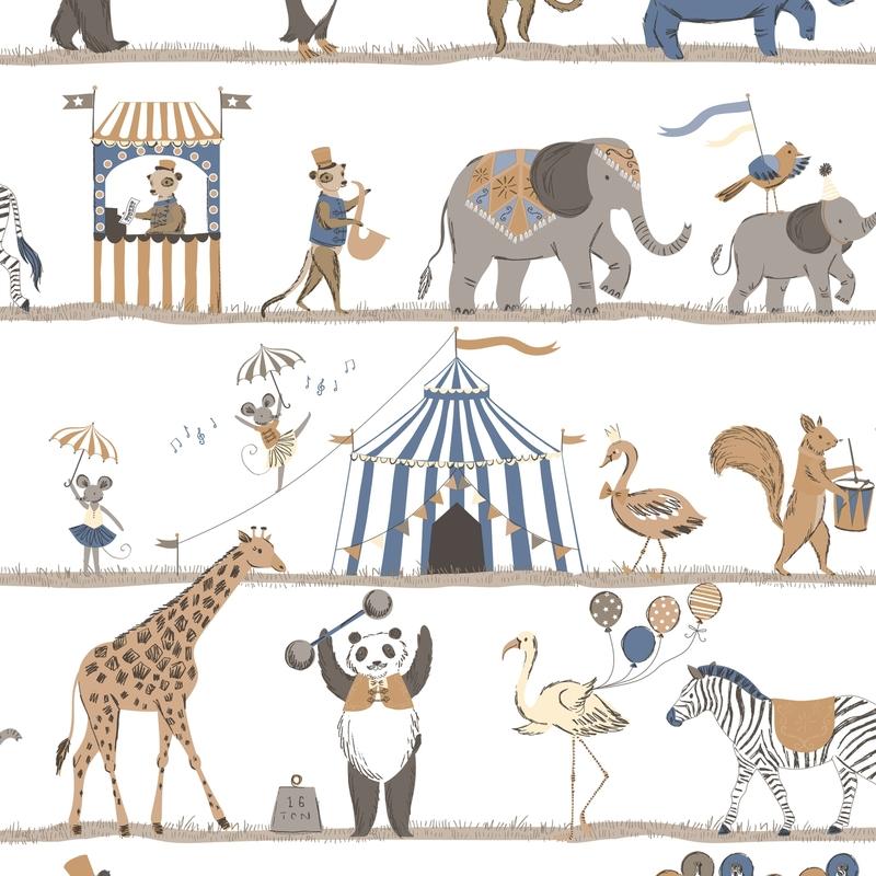 Vliestapete 'Zirkus' dunkelblau/camel