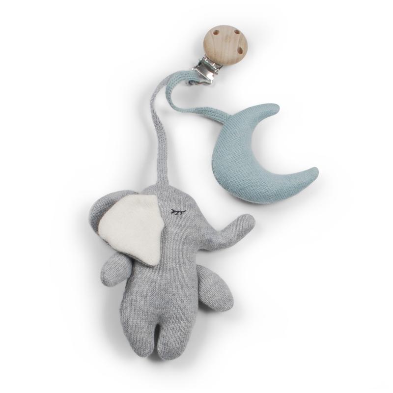 Bio Anhänger 'Elefant' Strick grau/blau