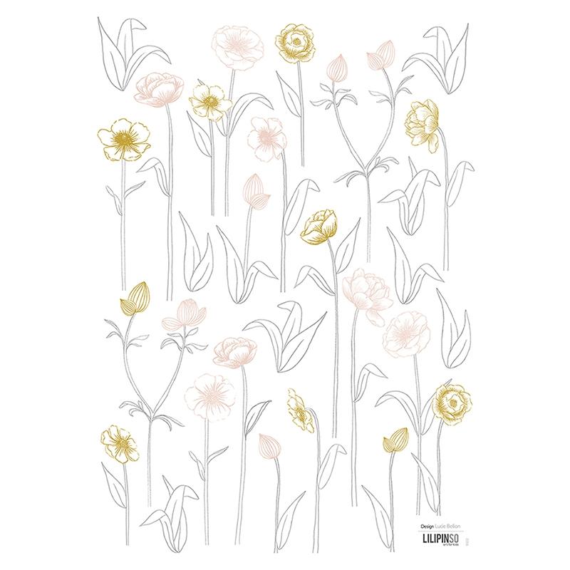 Wandsticker 'Blumen' gold/puder 19-tlg.