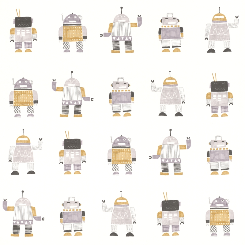 Vliestapete 'Roboter' gold/silber