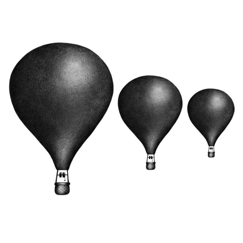 Wandsticker 'Heißluftballons' schwarz 3D Optik