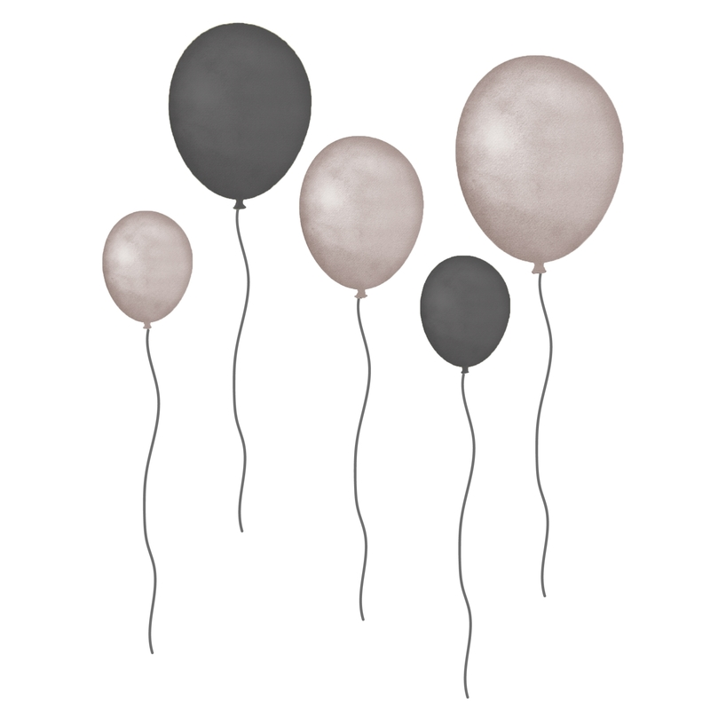 Stoff-Wandsticker 'Luftballons' grau/taupe