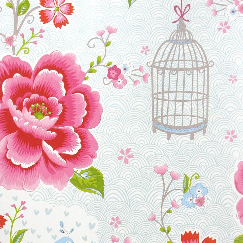 Vliestapete 'Birds in Paradise' perlmutt