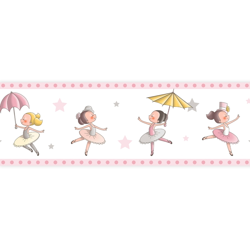 Bordüre 'Ballerina' rosa selbstklebend