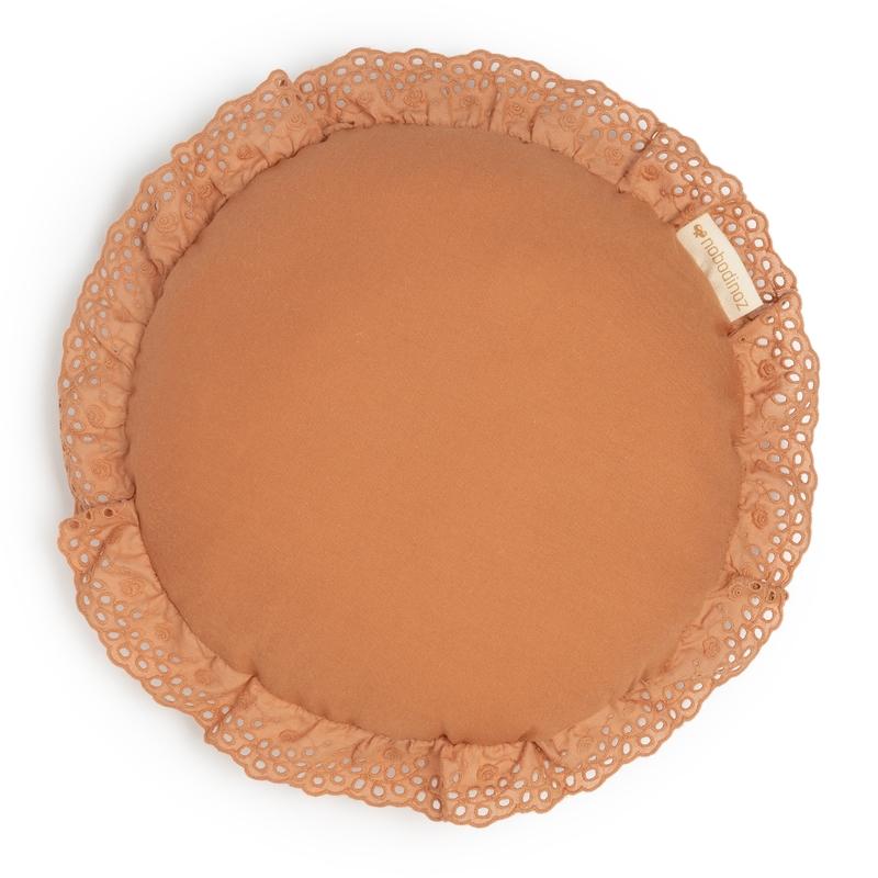 Kissen rund 'Vera Eyelet' sienna brown 28cm