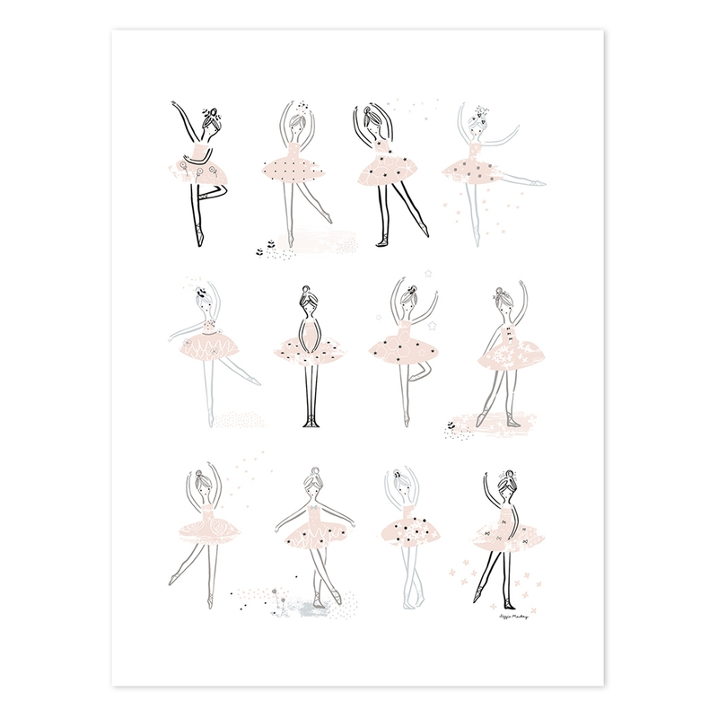 XL-Poster 'Ballerinas' rosa/schwarz 60x80cm