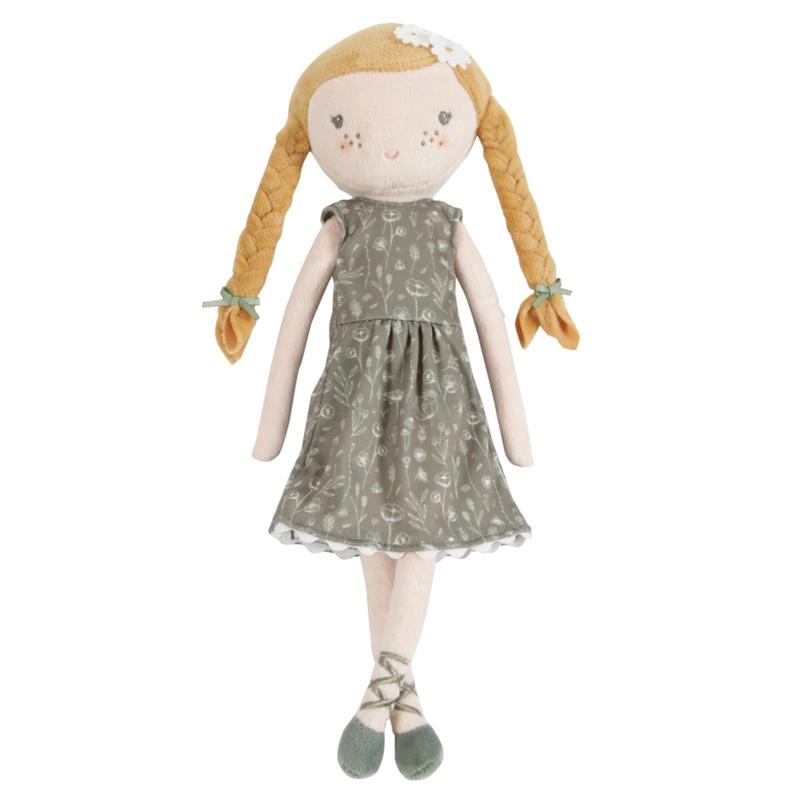 Stoffpuppe 'Julia' mit Blumenkleid oliv 35cm