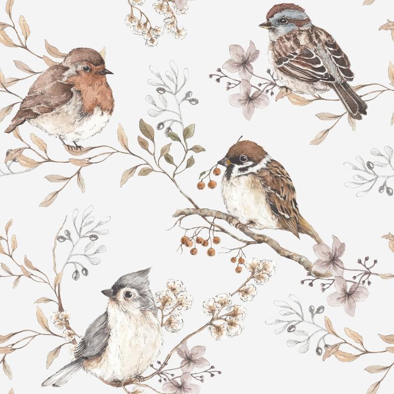Vliestapete 'Vögelchen' weiß/braun 50x280cm