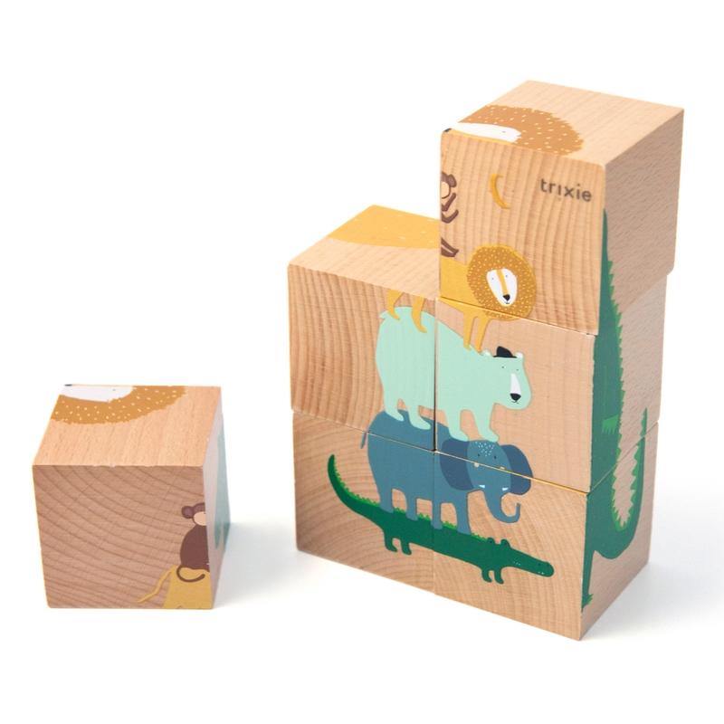 Würfelpuzzle 'Tiere' aus Naturholz ab 3 Jahren