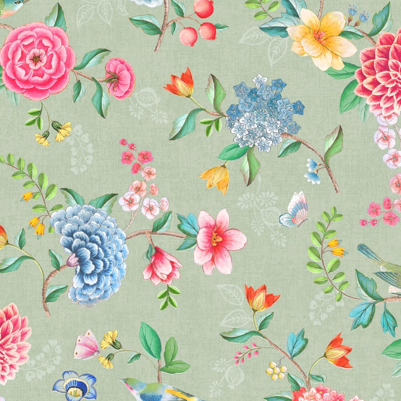 Vinyltapete 'Blumen' oliv/blau/rosa