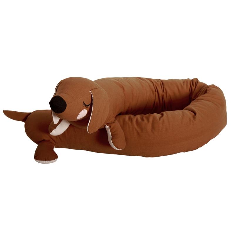 Bettschlange/Kuscheltier 'Hund' karamell 195cm