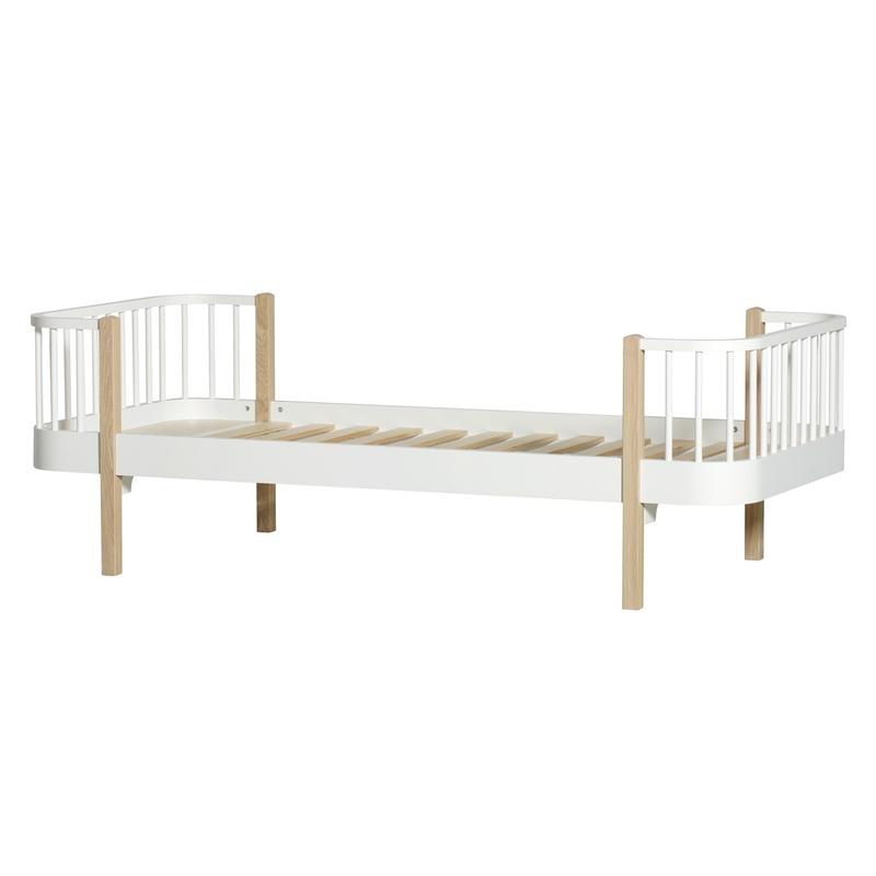 Bett 'Wood' Eiche/weiß 90x200cm