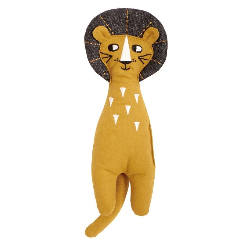 Spielpuppe 'Löwe' bestickt senfgelb 27cm