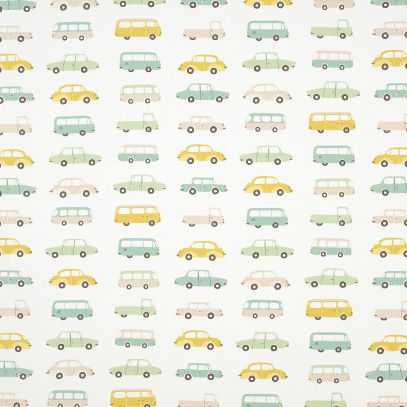 Stoff 'Happy Dreams' Autos mint/ocker