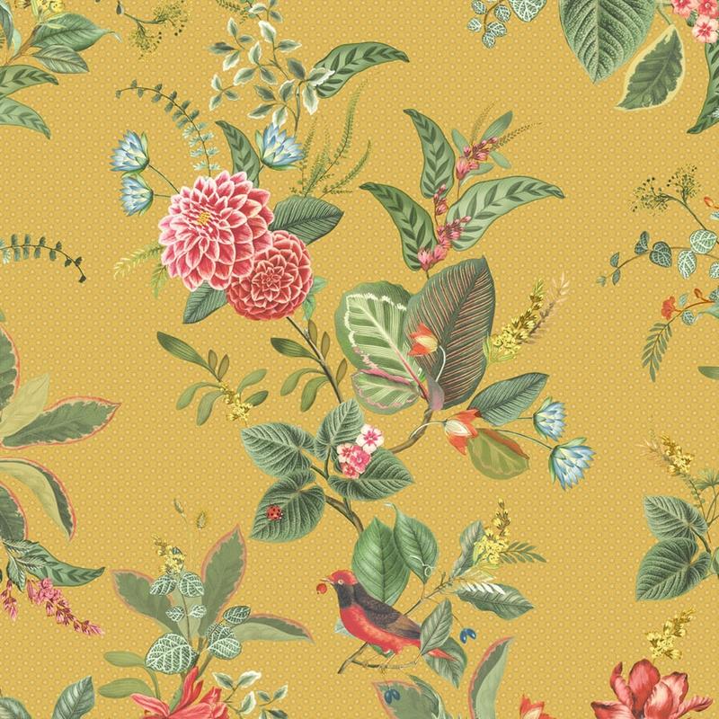 Vliestapete 'Floris' Blumen ocker/grün