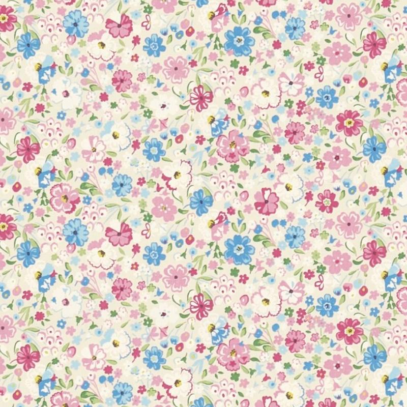 Kinderzimmer Stoff 'Blüten' blau/rosa