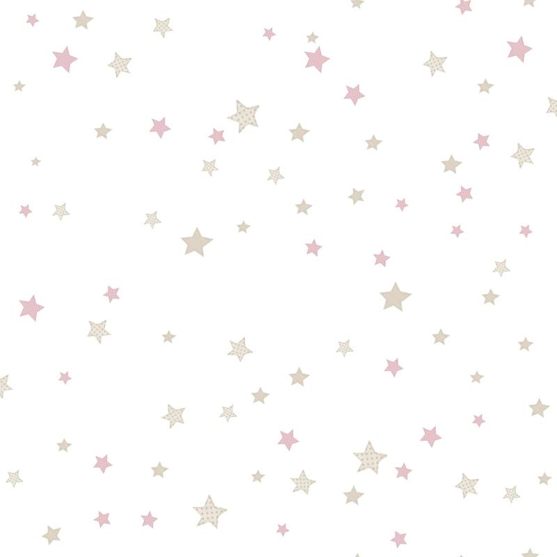 Vliestapete 'Sterne' rosa/beige