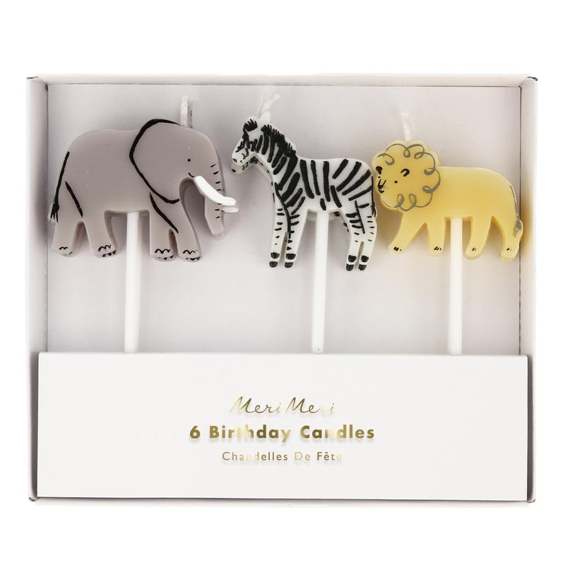 Party Kuchen-Kerzen 'Safaritiere' 6 Stk.
