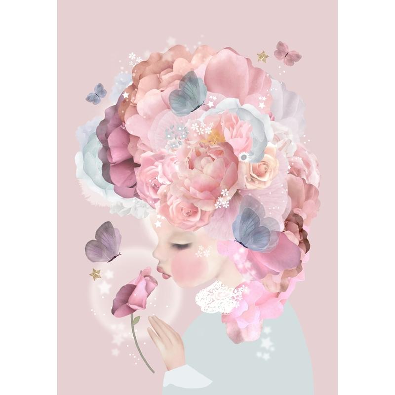 Poster mit Blattgold 'Blumenmädchen' rosa