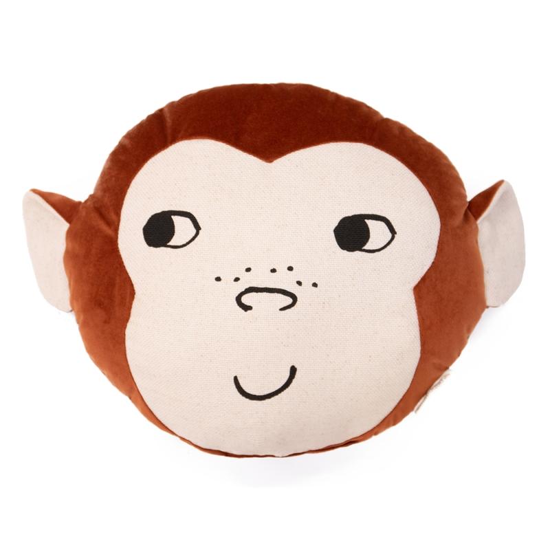 Bio Kissen 'Affe' aus Samt rostrot ca. 35cm