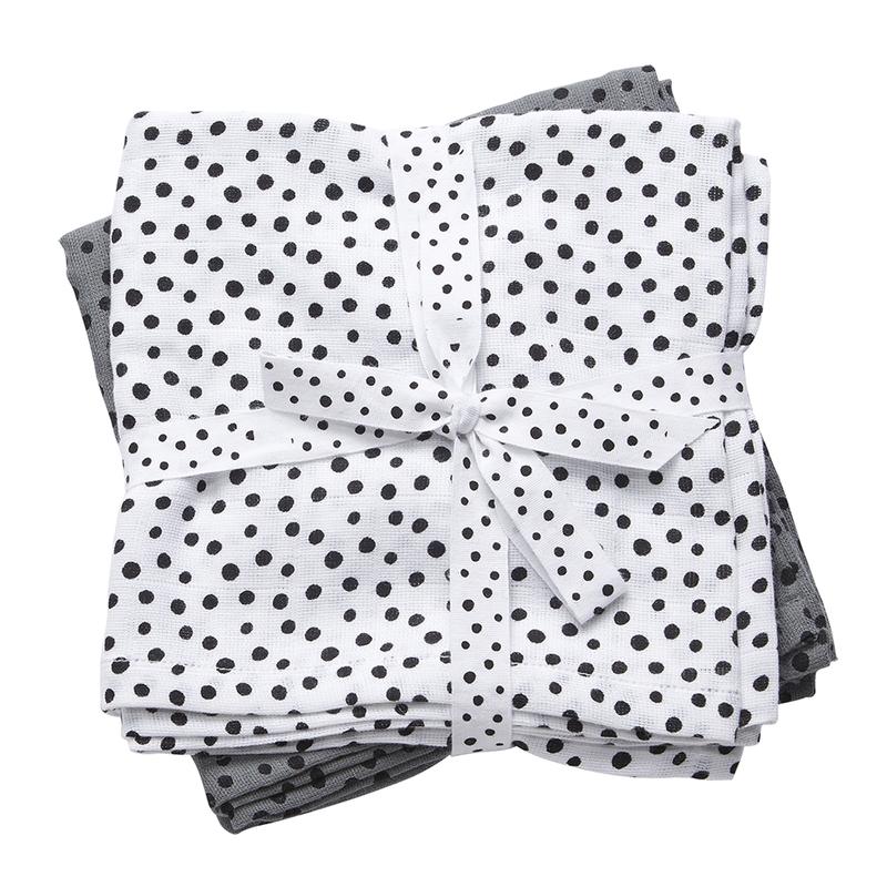 Mulltücher 'Happy Dots' grau 2er Set 70cm