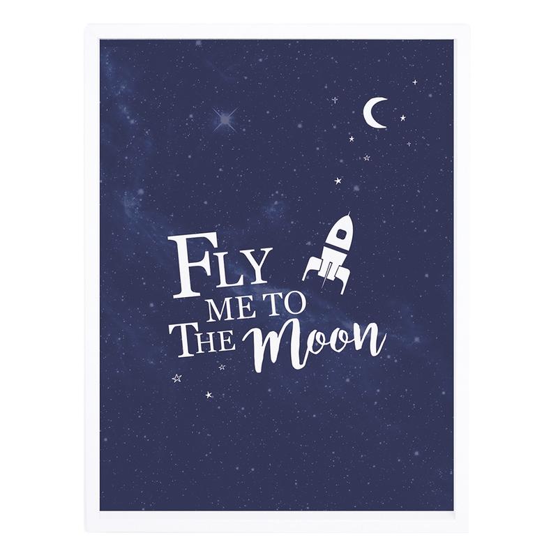 Bild 'Fly me to the Moon' blau 30x40cm