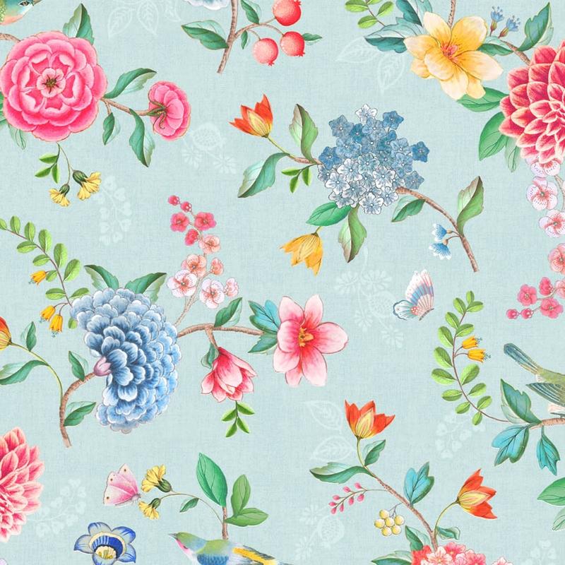 Vinyltapete 'Blumen' blau/grün/rosa